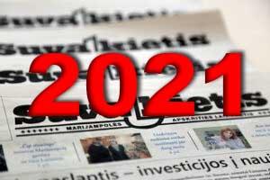 Popierinio laikraščio prenumerata 2021